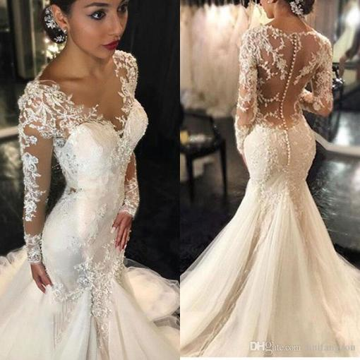 Vintage 2017 Lace Mermaid Wedding Dresses Long Sleeves Appliques     Vintage 2017 Lace Mermaid Wedding Dresses Long Sleeves Appliques Beaded Wedding  Gowns Sweep Train Jewel Bridal Gown Vintage Wedding Dresses Mermaid Wedding