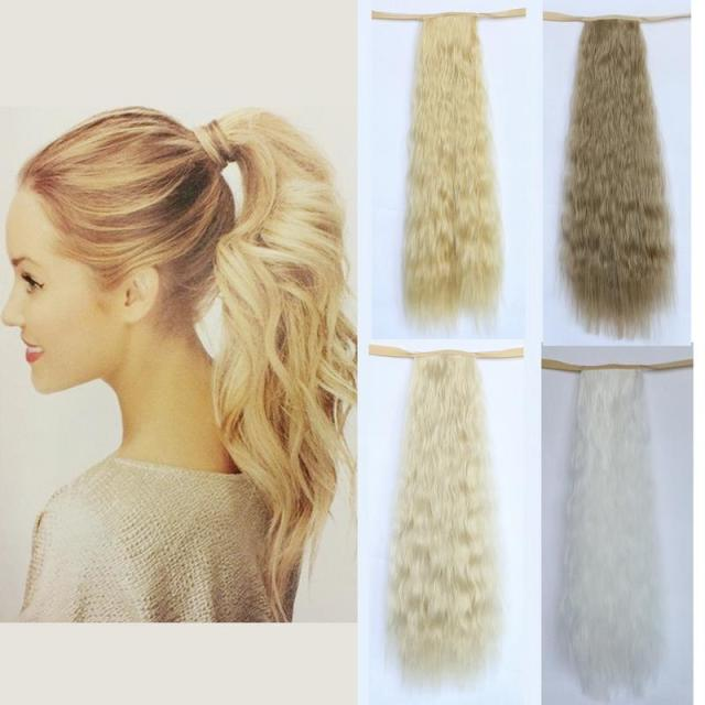 Wholesale High Quality 20 Long Curly Fake Ponytail Extension White Blonde Clips In On Hair Ribbon Hairpieces Long Human Hair Ponytail Hair Extensions