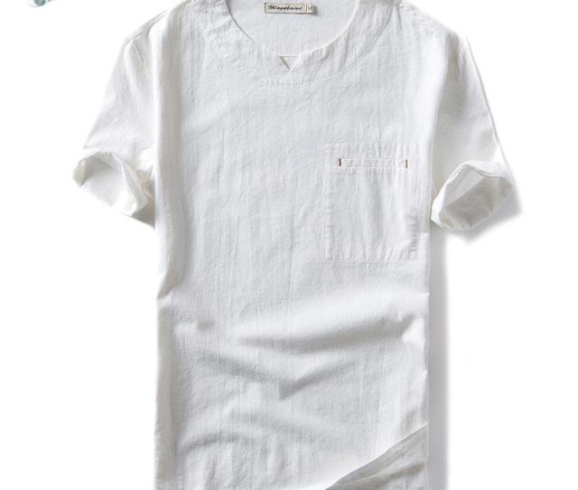 Mens Cotton Linen T Shirts Short Sleeve Solid Pullover Shirts Casual Tops Men Slim Fit Asian Size Ts  T Tee Shirts T Shirt Shirts From Alan