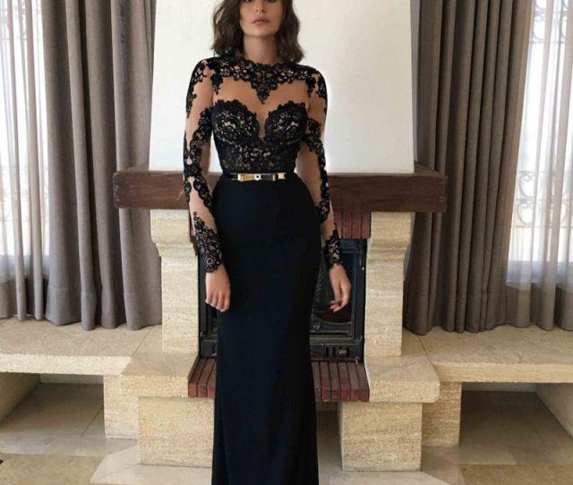 Description Illusion Black Lace Prom Dresses