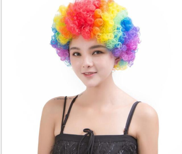 Party Wigs Colorful Afro Clown Hair Child Adult Costume Football Fan Wig Hair Halloween Rainbow Wig For Fun