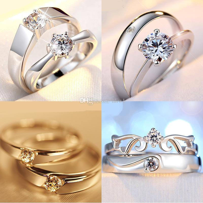 2019 Silver Plated Couple Rings For Women Bijoux Fashion