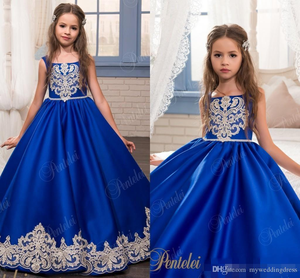Country Little Kids Girls Pageant Gowns Royal Blue Arabic