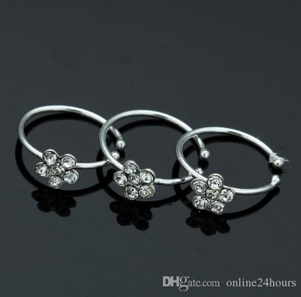 Gold, Silver Yuren 2Pcs Small Thin Flower Clear Crystal Nose Ring Stud Hoop-Sparkly Crystal Nose Ring Sparkly Jewelry