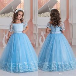 1afcb7c77 Light Blue Flower Girls Dresses Off Shoulder Short Sleeves Lace Appliques A  Line Kids Party Dress