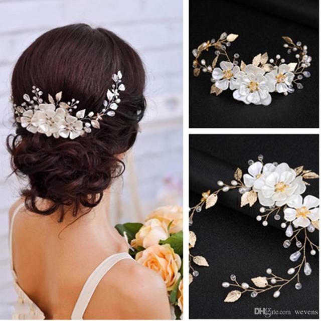 elegant bridal flower hair ornaments fashion hairwear wedding hair accessories for hair women girl pearl headpiece
