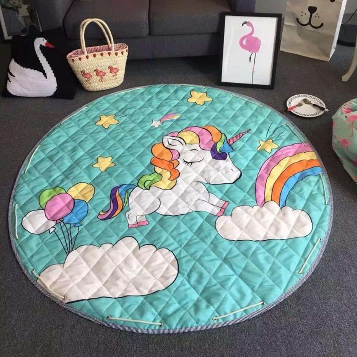 Round Floor Mat Rugs 150cm Waterproof Carpets Toys Organizer Storage Pad Home Bedroom Decoration Christmas Gifts Washable