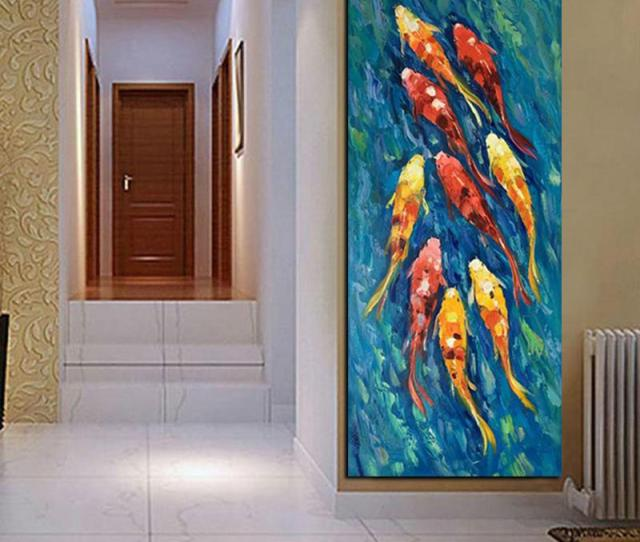 Chinese Abstract Nine Koi Fish Lotus Oil Painting On Canvas Poster Feng Shui Wall Art Picture For Living Room No Framed Wall Art Painting Canvas Painting