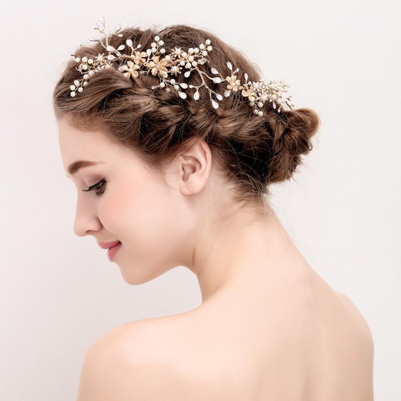 2019 baroque gold branch flowers hair comb pearl wedding hair accessories vintage crystal leaf bridal combs headpieces hairband from ogstuff