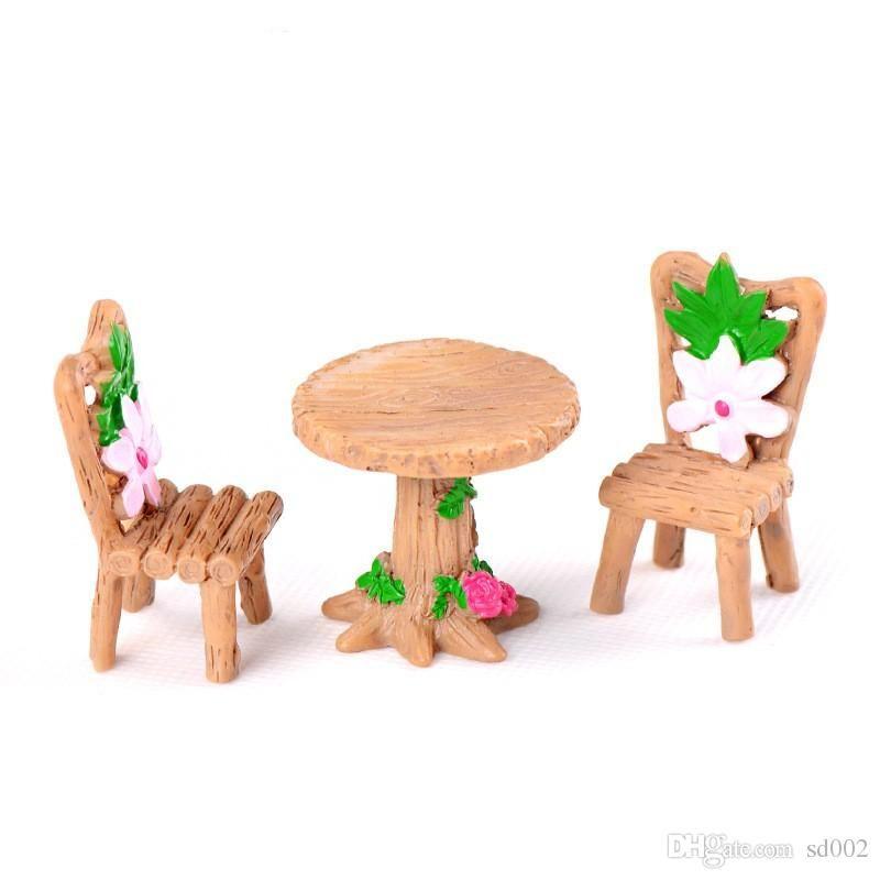 Fai Da Te Bryophyte Micro Paesaggio Piante Fata Bonsai Decorazioni Da Giardino Miniature Legno Cherry Blossoms Tavolo Sedia Resina Artigianato
