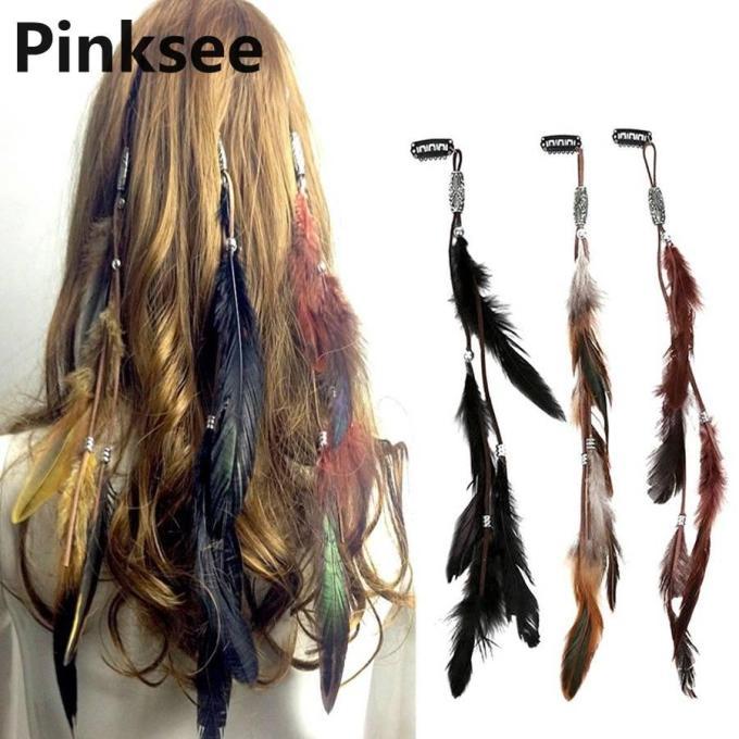 1pc indian festival feather hippie headpiece tassel hair comb clips boho head band hair accessories decors wholesale