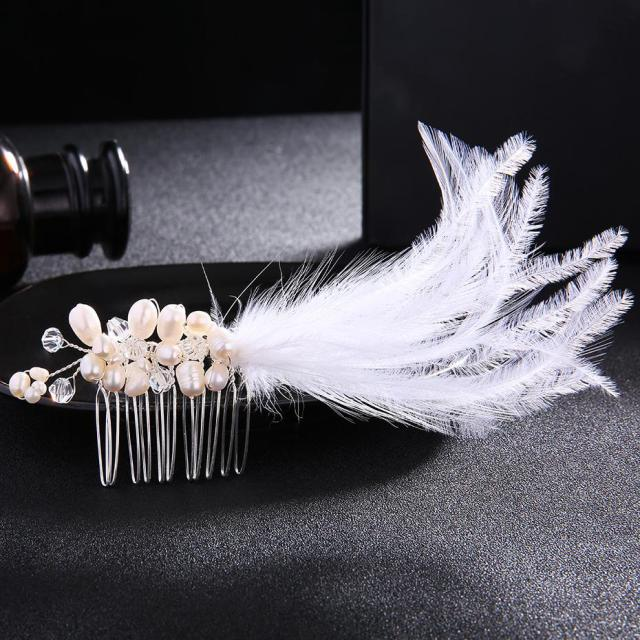 feather hair combs bridal hairpins pearl jewelry rhinestones tiaras head jewelry wedding hair accessories hair clips jch043