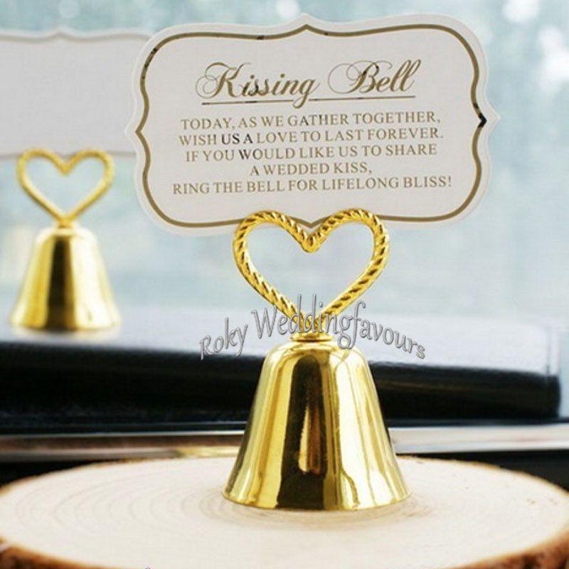 Grosshandel Herz Bell Silber Glocke Tischkartenhalter Foto Halter