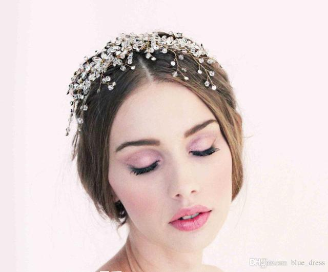 wedding tiaras hair accessories flowers bride wedding headdress decorated with pearls forehead wedding party jewelry hair accessories 2018