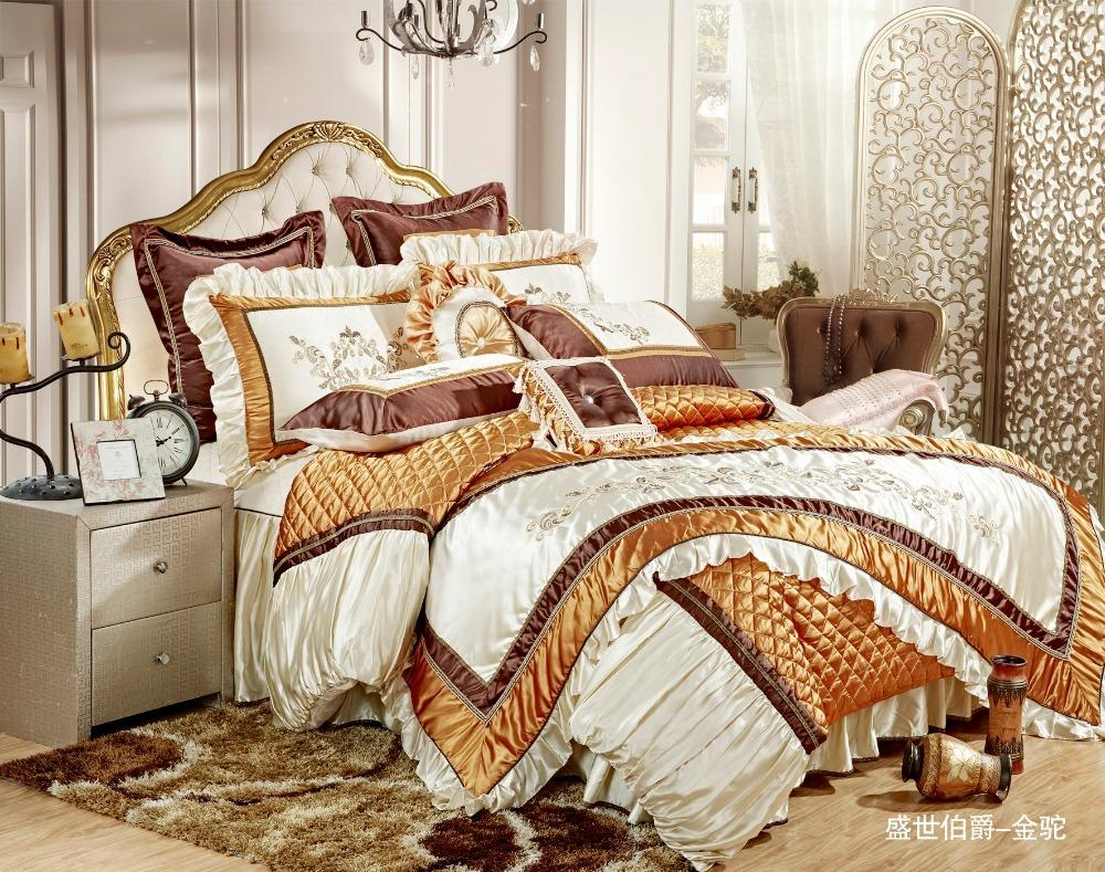 acheter 4 6 8 10 pieces soie broderie or ensemble de literie ensembles de literie de luxe roi taille lit queen ensemble housse de couette drap de lit de