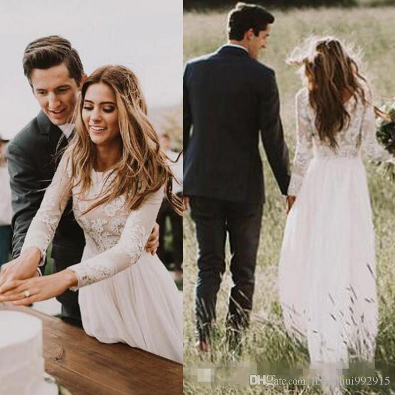 Brautkleid Lange Spitzenarmel Ruckenausschnitt Boho Hochzeitskleid