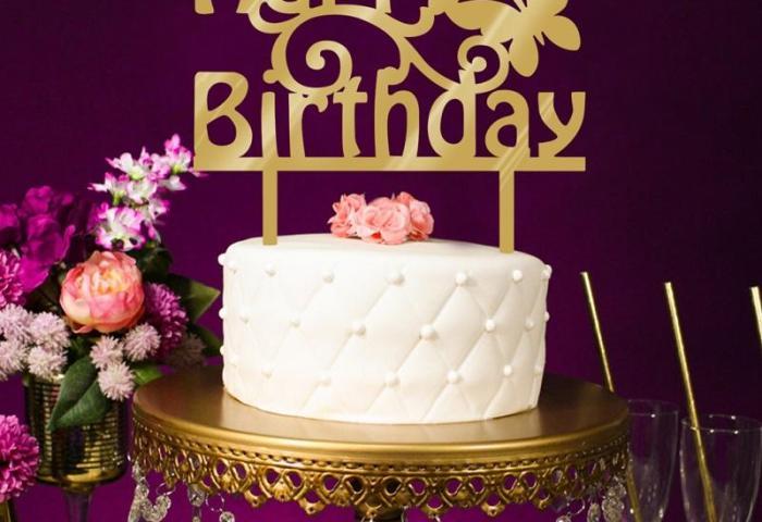 Wholesale Acrylic Happy Birthday Cake Topper Mirror Gold Cake Insert