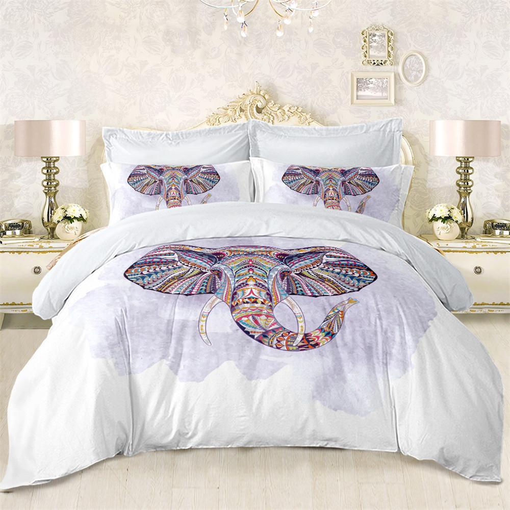 acheter home textile elephant tete modele de literie ensemble colore animal imprime housse de couette ensemble taie d oreiller boheme tribal housse de lit