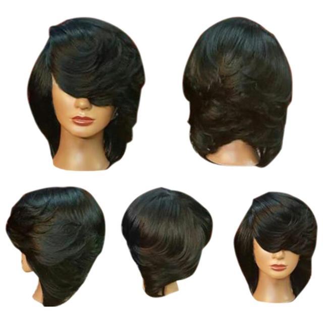 short side bang straight flip feathered bob synthetic wig natural black wigs women natural short straight synthetic wigs for women