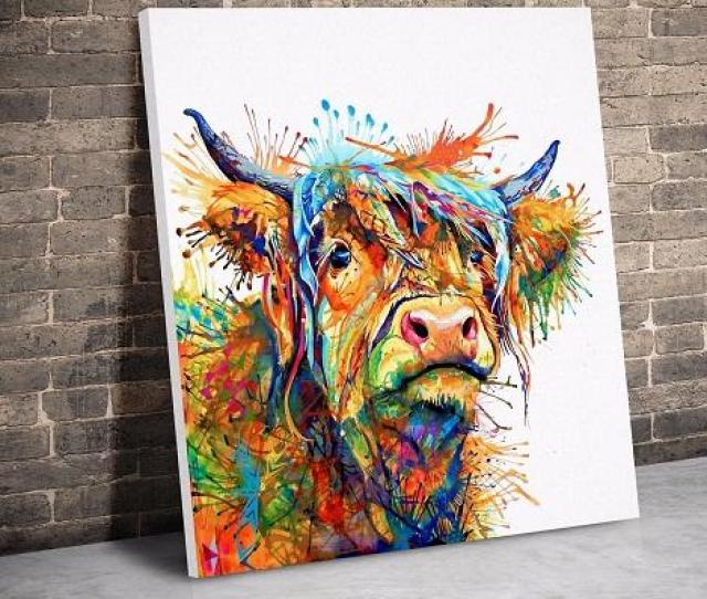 Cow Abstract Art Animal Nature Quality Canvashand Painted Print Animal Home Wall Art Oil Painting On Canvas Multi Sizes Frame Options A From