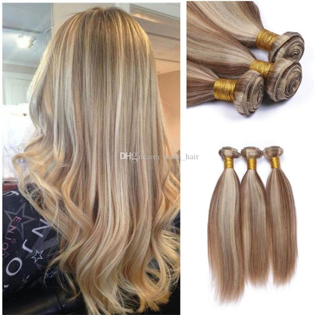 8a ombre brazilian hair 3pcs #27/613 mix color brazilian virgin hair straight brown blonde brazilian hair weave bundles for wedding