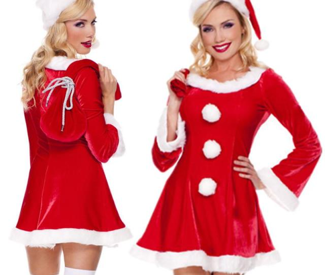 New Arrival Christmas Costumes Women Sexy Red Christmas Dress Santa Claus Costumes For Adults Uniform Groups Of  Costumes Cool Halloween Themes From