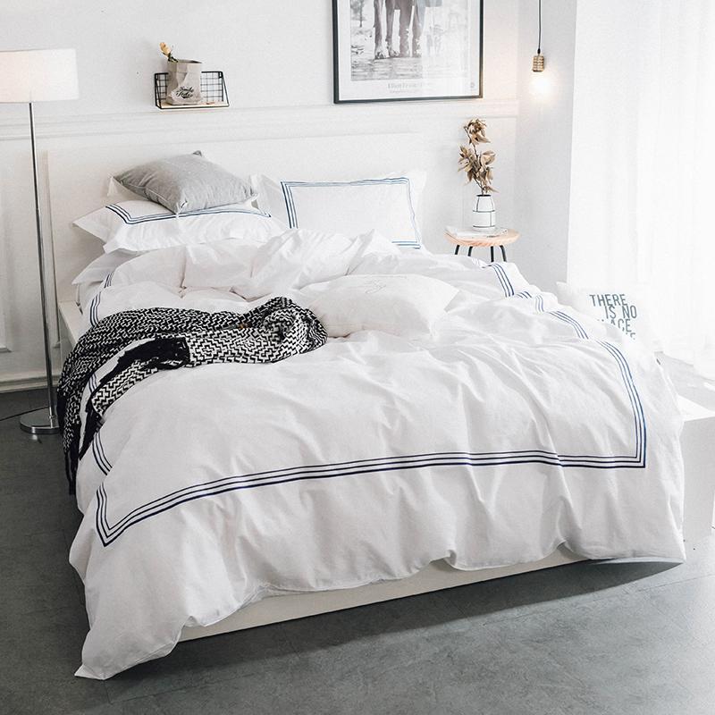 simple nordique 100 coton ruban bleu feuille de couette de luxe ensembles de housse de couette ensembles de literie de couette literie grande taille de