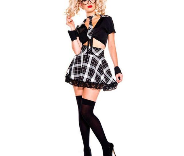 Seseria Sexy Schoolgirl Costume School Girls Halloween Costume Uniform Set Black Top With Tie Plaid Skirt Sexy School Girl Costume Sexy Costumes School Girl