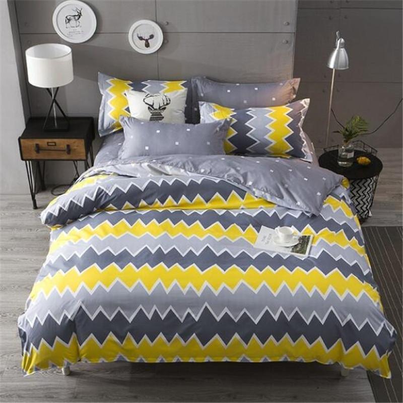 acheter taie d oreiller de literie simple jaune et gris ensemble housse de couette double roi reine taille de 84 28 du blithenice dhgate com