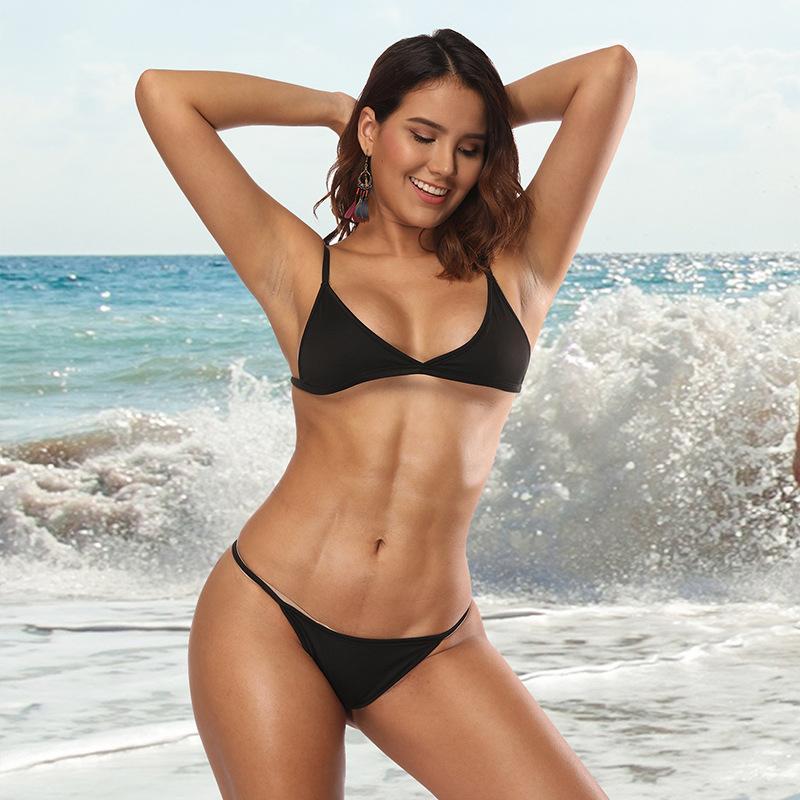 Compre Venta Al Por Mayor 2018 Hot Sexy Traje De Bano Micro Bikini Conjunto Trajes De Bano Con Halter Correa Traje De Bano Brasileno Monokini Inferior Para
