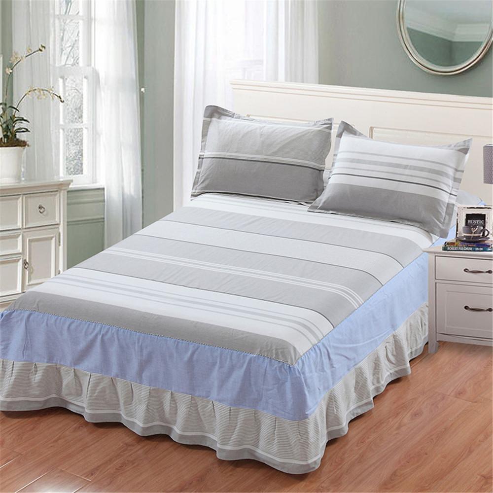 acheter blanc bleu gris rayures jupe geometrique ensemble de literie literie matelas elastique couvre lit 100 coton jumeaux complet queen king de 45 59 du
