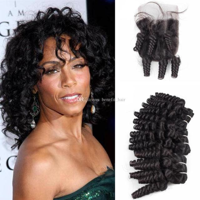 hot selling aunty funmi curls hair weaves with top closure 4x4 romance curly hair 3bundles with closure pieces 4pcs