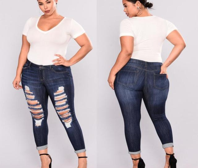Fat Po Big Code Fashion Holes Big Ass Small Feet High Elastic Jeans From Afanticlothes   Dhgate Com