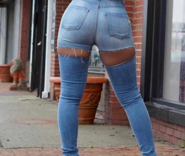 Sexy Ripped Butt Jeans Bootcut Slim Pencil Trouser Stitching Plus Size Jeans Rock Women Big Butt Jean Woman Denim Pant Ass Hole From Longan