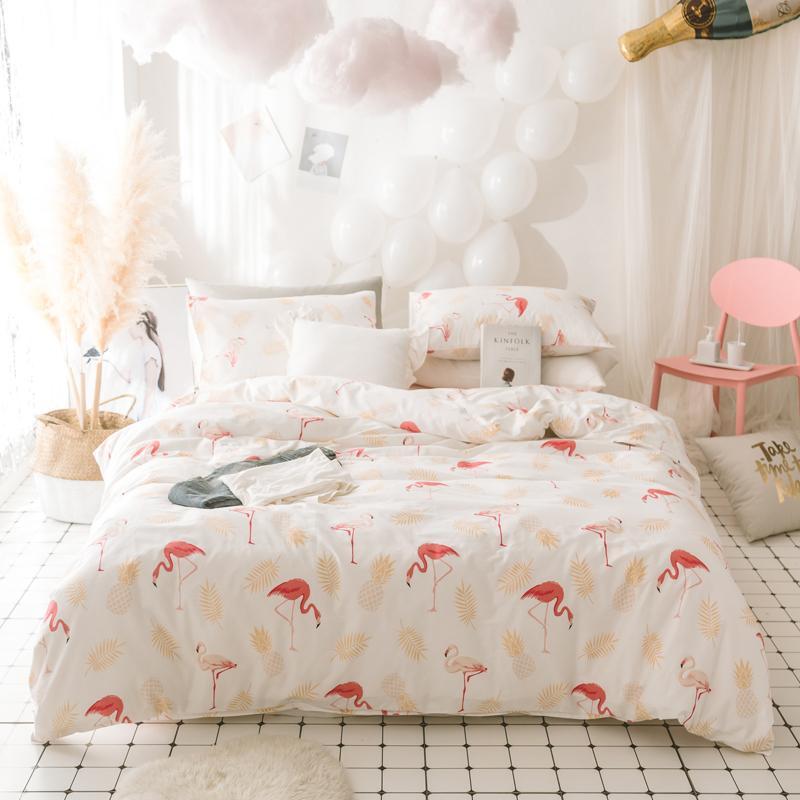 acheter rose flamingo literie ensemble designer coton literie couvre lit jumeaux reine taille blanc princesse feuilles ensembles de literie lit couverture