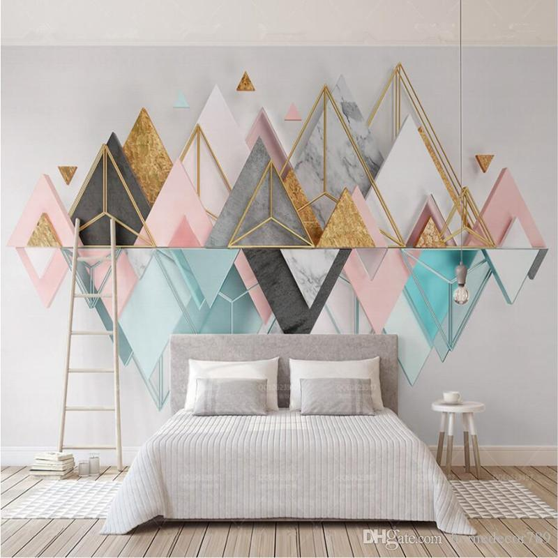 acheter moderne style nordique personnalise 3d papier peint peintures murales en verre metallique geometrique triangle mural pour salon chambre canape