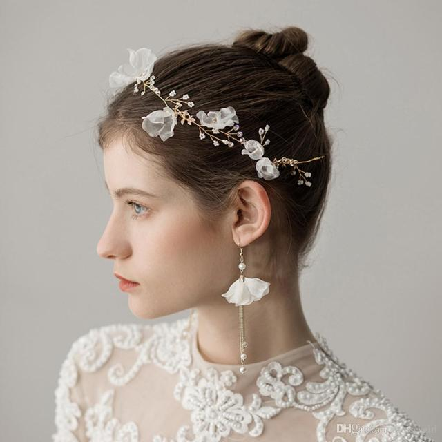 new arrival earring necklace bridal crown romantic hot two pieces pearls flower wedding bridal jewelry set dress hair accessories