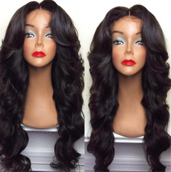 celebrity style synthetic wigs loose body wave hair wig natural black 1b color with side bangs black women full wigs