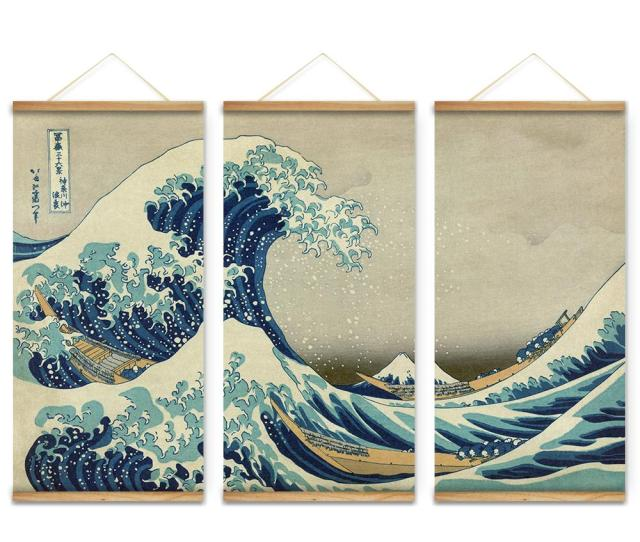Japan Style The Great Wave Off Kanagawa Decoration Wall Art Pictures Hanging Canvas Wooden Scroll Paintings For Living Room The Paintings Painting Styles