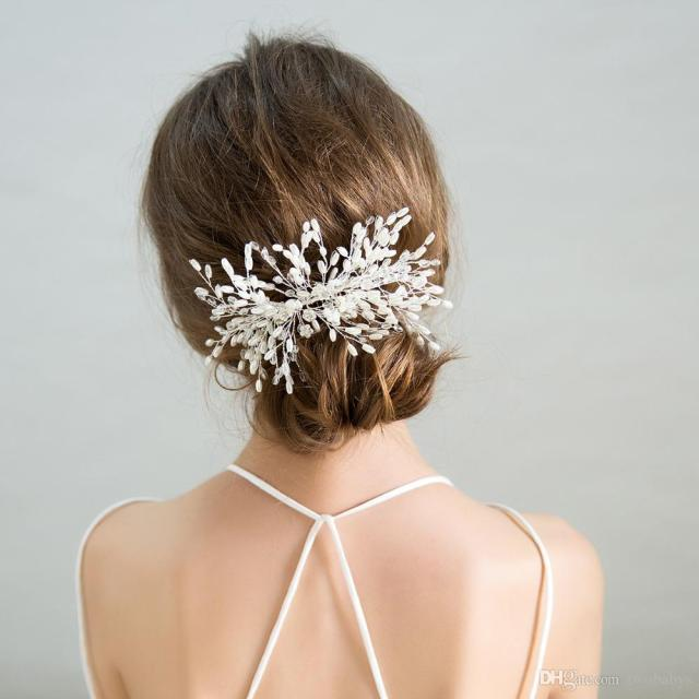 simple bridal combs with pearls beads brides hairpins wedding hair accessories headdress headpieces for women
