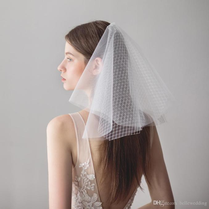 vintage wedding veils face blusher wedding hair pieces 2 tiers with beads short bridal headpieces bridal veil blusher bw-v611