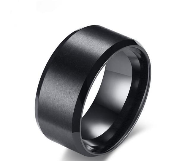 Black Mens Engagement Rings Mm Matte Finished Stainless Steel Wedding Bands Male Ring Anniversary Gift Us Size   Emerald Cut Engagement Rings Wedding