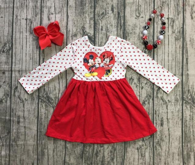 New Valentines Day Baby Girls Children Clothes Cotton Spring Winter Ruffles Mouse Love Heart Dress Boutique Match Accessories From Newestable