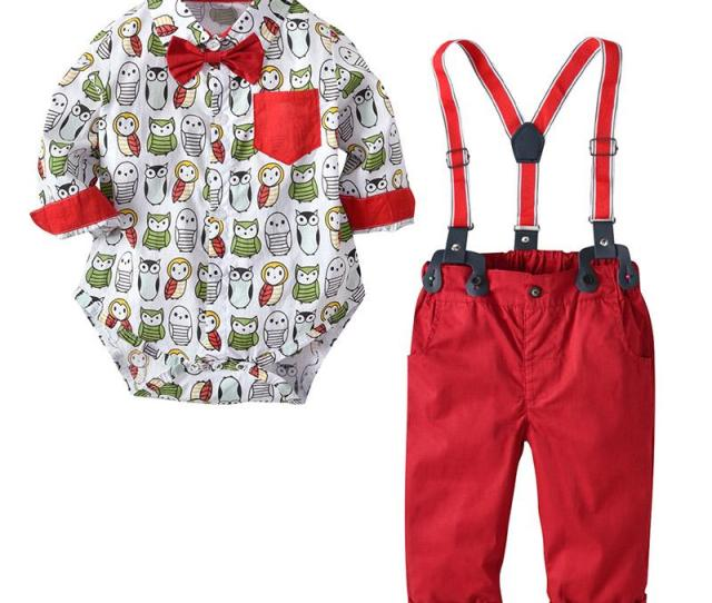 Baby Boy Christmas Outfit Long Sleeve Cute Owl Printed Rompers Suspender Trouser Two Pieces Little Gentleman Christmas Clothes Sets  From