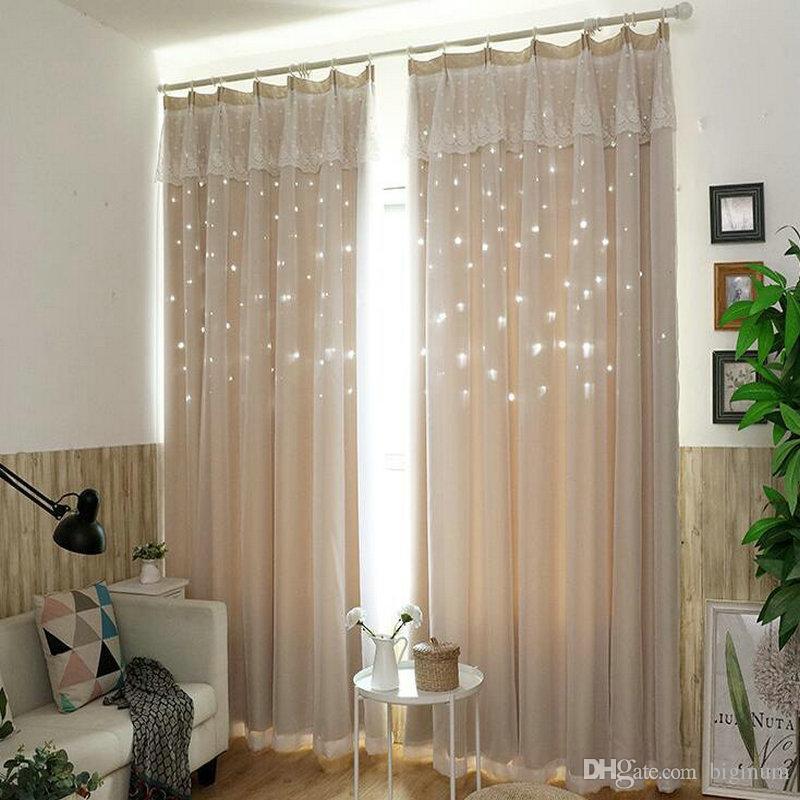 acheter nouveau style dentelle couture creuse etoile rideau de rideau tissu pour salon princesse salle de bain rideau evider avec etoile de 59 45 du