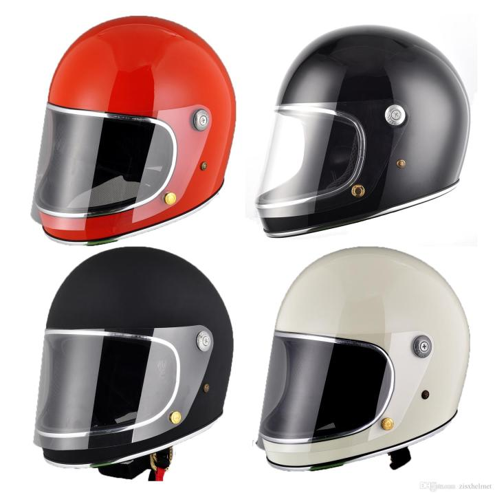 Frp Full Face Motorcycle Helmet With Shield For Vintage Cafe Racer