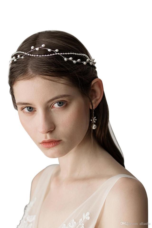 new fashion wedding bridal pearl hair accessories head band crown tiara ribbon headpiece jewelry wedding hair accessories cpa1426