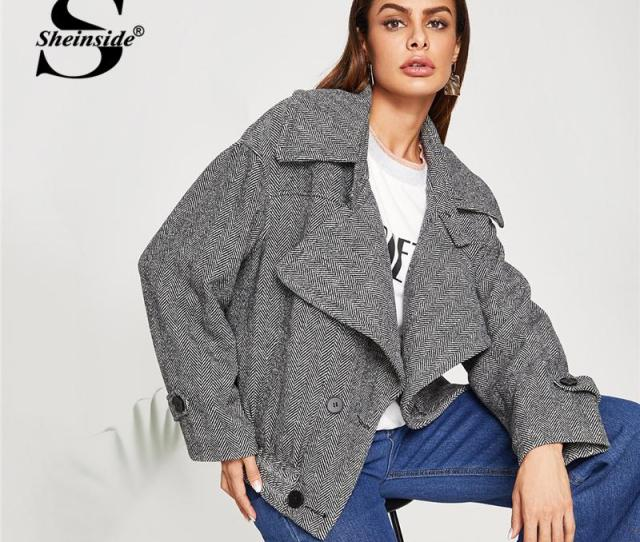 Sheinside Grey Double Breasted Herringbone Jacket Fashion Autumn Coats And Jackets Women Casual 2018 Clothes Ladies Outerwear Jacket Leather Coat Jacket