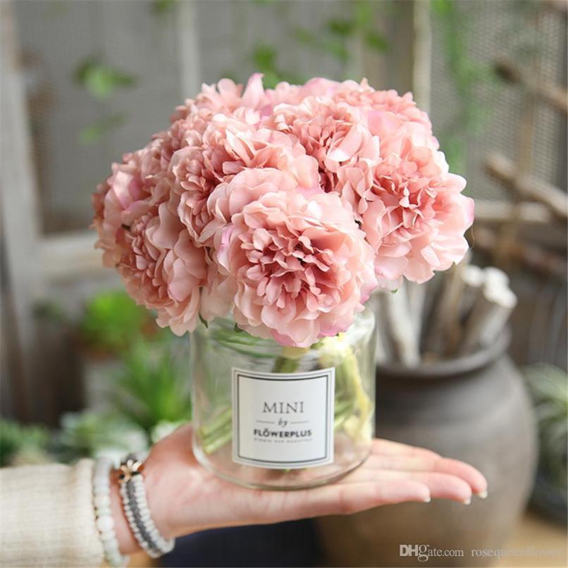 9cd3a057e2948 5 Heads Peonies Fake Flowers Home Decor Silk Hydrangeas Cheap Flower