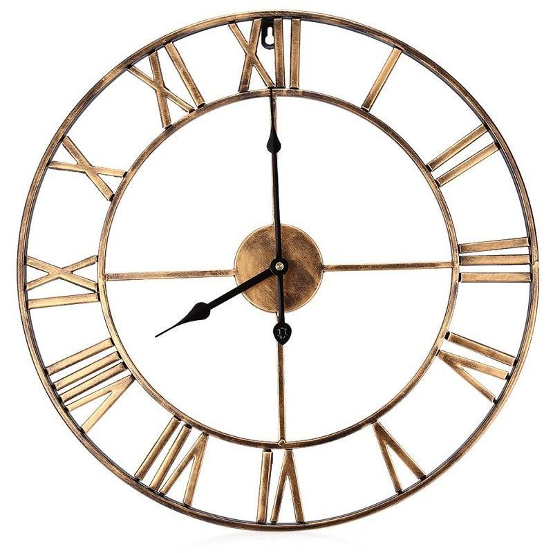 acheter horloge murale decorative de fer de 3d surdimensionne de 18 5 pouces retro grands chiffres romains de materiel d art concoivent l horloge sur le mur
